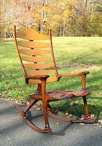 The Bonn Zero-G, Walnut and Curly Maple custom rocking chair
