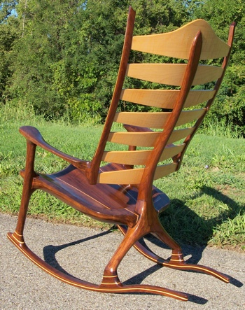 The Bonn Zero-G, Walnut and Curly Maple custom rocking chair